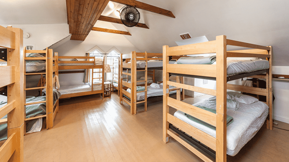 Bunk beds at a hostel